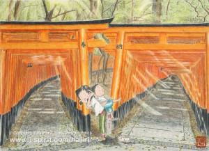 光のトンネル(京都・伏見稲荷大社)