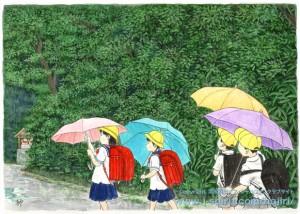傘の花咲く通学路